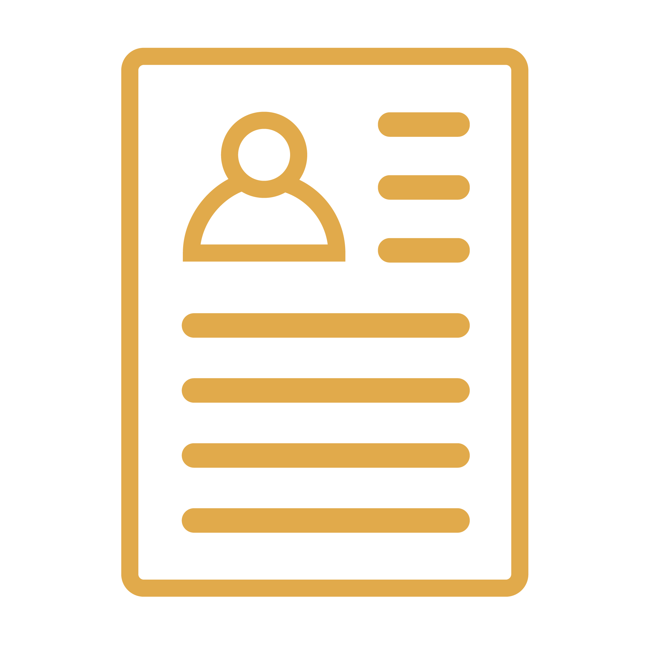 yellow icon of a piece of paper with written content